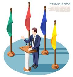 president speech isometric composition vector image