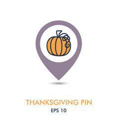 pumpkin mapping pin icon harvest thanksgiving vector image vector image
