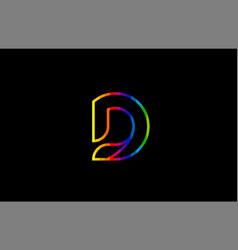 rainbow color colored colorful alphabet letter d vector image