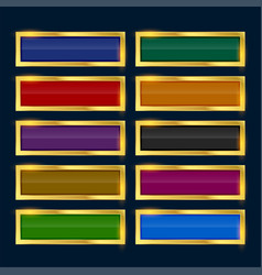 rectangle buttons with golden border vector image