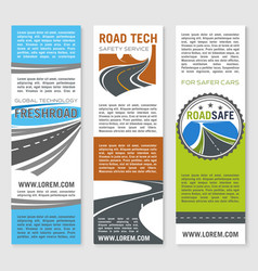Road safety service technology banners vector