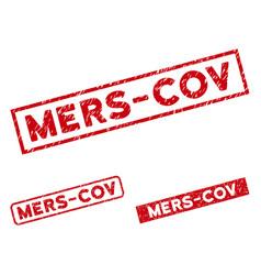 Scratched mers-cov rectangular seals vector