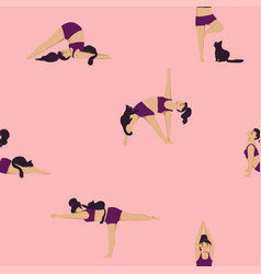 seamless pattern girl doing yoga with a cat vector image