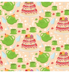 Seamless pattern of tea pot with cake and cups vector image