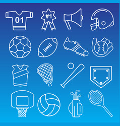 set 16 thin line sports icons vector image