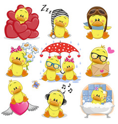 Set of cute cartoon ducks vector