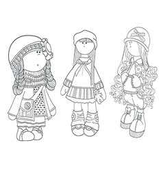 Set of cute dolls coloring girl vector