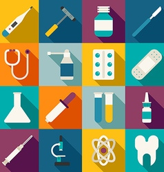 Set of Flat Style Medical Icons with Long Shadow vector image