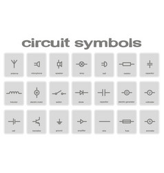 set of monochrome icons with circuit symbols vector image