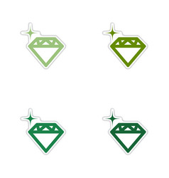 Set of paper stickers on white background diamond vector