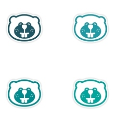 Set of stickers Canadian beaver on white vector