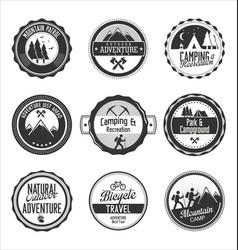 set outdoor adventure retro gray labels vector image