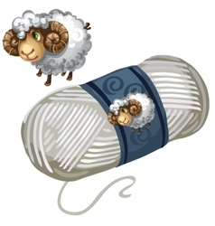 Sheep and roll white wool thread vector