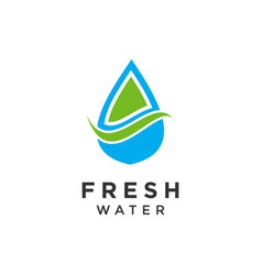 Simple water fresh logo design vector