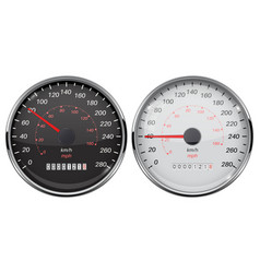 Speedometer set kilometers and miles black and vector