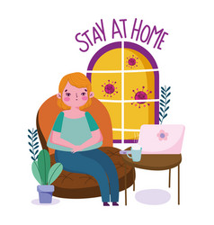 Stay at home young woman sitting in sofa with vector