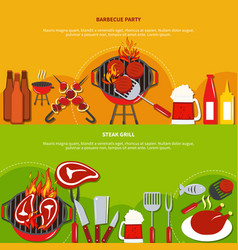 steak grill on barbecue party vector image vector image