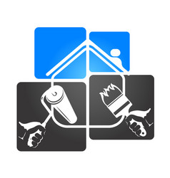 symbol of the house and roller brush vector image
