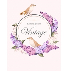 Vintage card with lilac and birds vector image