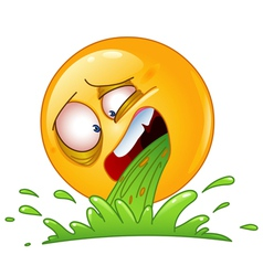 vomiting emoticon vector image