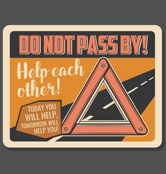 warning triangle emergency road sign vector image