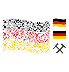 Waving germany flag collage of mining hammers vector