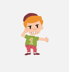 white boy in jeans is angry and points his head vector image