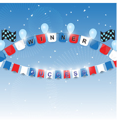 winner and success flags with confetti vector image