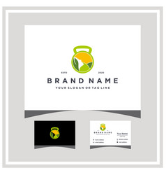 Woman fitness logo design and business card vector