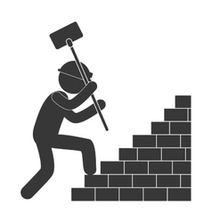 worker hammer climbing brick stairs figure vector image