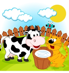 cat cow and milk vector image