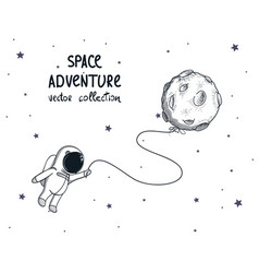 cute spaceman fly with balloon like a moon vector image vector image