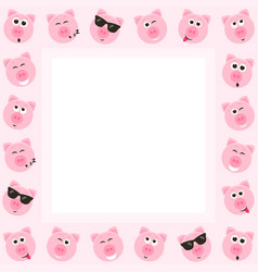 frame with cute pink pigs vector image
