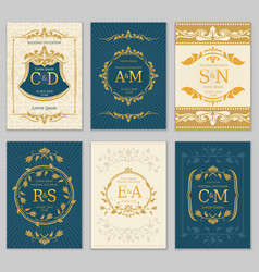 luxury vintage wedding invitation cards vector image vector image