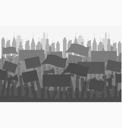 silhouette crowd of people protesters vector image