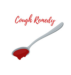 spoon with cough remedy liquid medicine vector image
