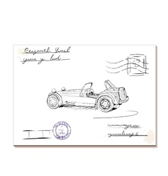 Vintage letter with old car2 vector image