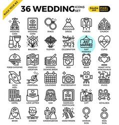 Wedding Love Icons vector image