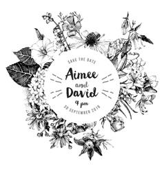 Botanical wedding invitation vector image