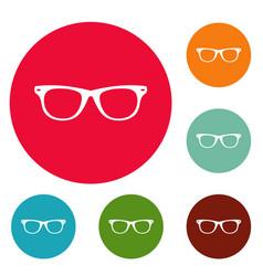 man glasses icons circle set vector image
