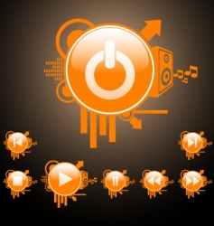 web and media buttons vector image vector image
