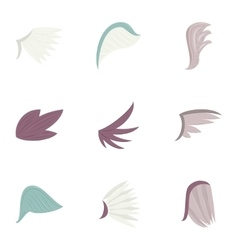 Bird wings icons set cartoon style vector image vector image