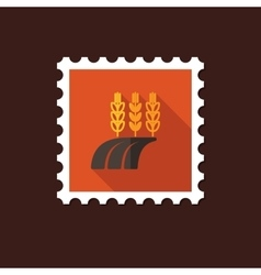 Ears of Wheat Barley or Rye on Field flat stamp vector image