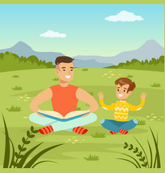 father reading a book to his son on natur vector image