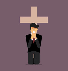 sadness man is on his knees and prays to god vector image