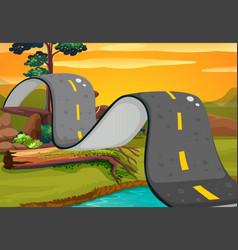 Wavy road in the countryside vector