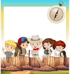 Border design with children camping out vector image vector image