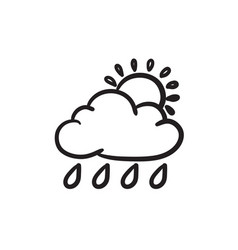 cloud with rain and sun sketch icon vector image vector image