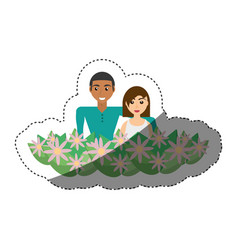 happy couple with decorative flowers romantic vector image vector image