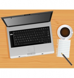 laptop and desk vector image vector image